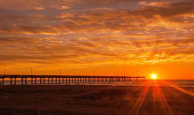 Sun Rising At Port Aransas Pier Poster