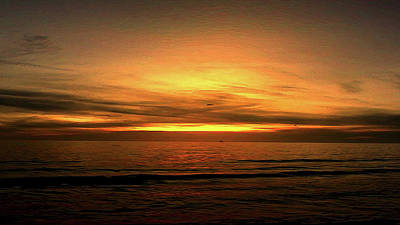 Sun Set On The Gulf Poster