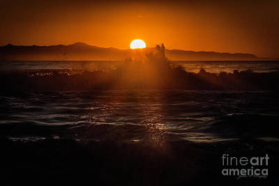 Sun Setting Behind Santa Cruz Island Poster