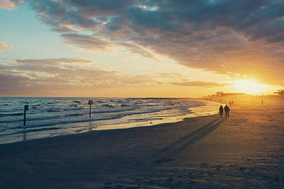 Sun Setting On Galveston Beach Poster