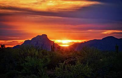 Poster featuring the photograph Sun Setting On Red Mountain  by Saija Lehtonen