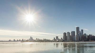 Sun Setting Over Chicago Poster