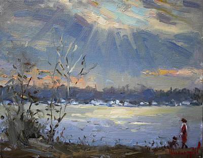 Sun Setting Over The Niagara River Poster