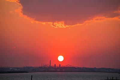 Sun Setting Over The Tobin Bridge From Winthrop Ma Poster