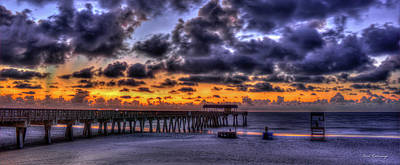 Sun Up Tybee Pier Sunrise Beach Art Poster