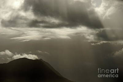 Sunbeams On Mountains By Cloudy Day Poster