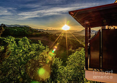 Sunburst View From Dellas Boutique Hotel Near Meteora In Kastraki, Kalambaka, Greece Poster