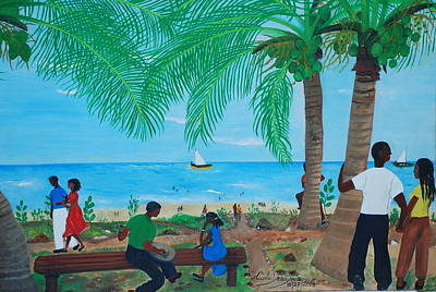 Poster featuring the painting Sunday By The Beach by Nicole Jean-Louis