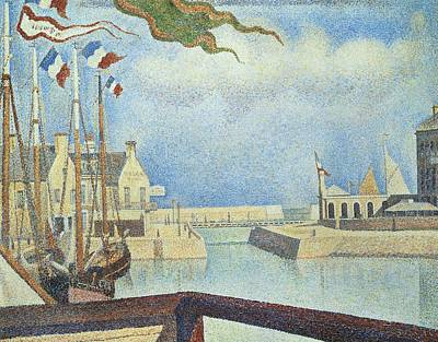 Sunday  Port-en-bessin Poster by Georges Pierre Seurat