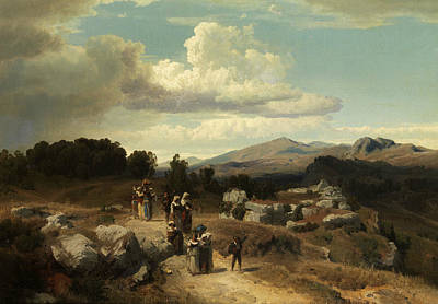 Sunday Walk In The Roman Countryside Poster by Oswald Achenbach
