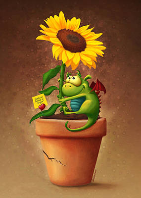 Sunflower And Dragon Poster