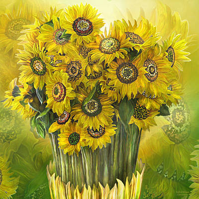 Poster featuring the mixed media Sunflower Bouquet by Carol Cavalaris
