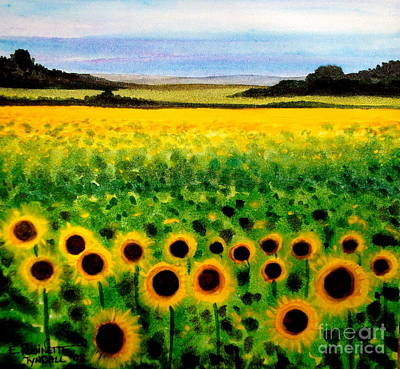 Poster featuring the painting Sunflower Field by Elizabeth Robinette Tyndall