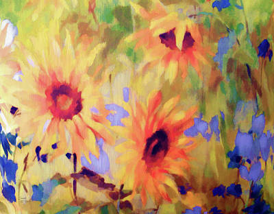 Sunflower Joy Watercolor Poster by Sandi OReilly