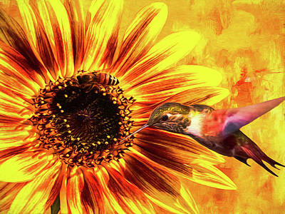 Sunflower Magic Poster by Diane Schuster