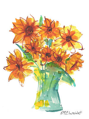 Sunflower Medley II Watercolor Painting By Kmcelwaine Poster by Kathleen McElwaine