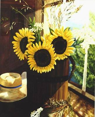 Poster featuring the painting Sunflower Sill by Renate Nadi Wesley