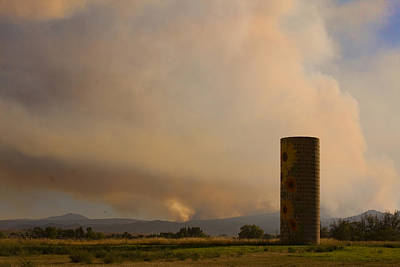 Sunflower Silo With The Four Mile Canyon Fire  Poster