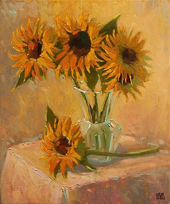 Sunflower Vase In A Sunny Room Poster by Robert Lewis