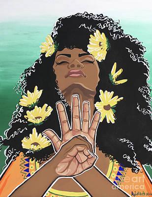 Sunflowers And Dashiki Poster by Alisha Lewis