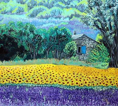 Sunflowers And Lavender Poster