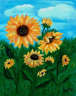 Poster featuring the painting Sunflowers For Mom by Sonya Nancy Capling-Bacle