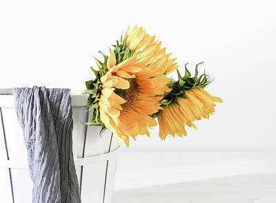Poster featuring the photograph Sunflowers In A Basket by Kim Hojnacki