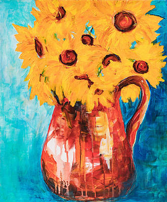 Sunflowers In A Pitcher Poster
