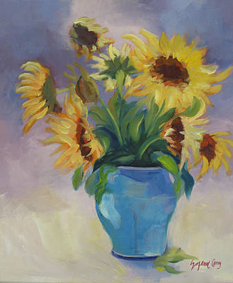 Sunflowers In Blue Vase Poster