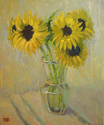 Sunflowers In The Studio Poster by Robert Lewis