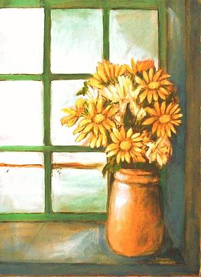 Poster featuring the painting Sunflowers In Window by Winsome Gunning