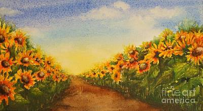 Sunflowers Left And Right Poster by Evelyn Sichrovsky