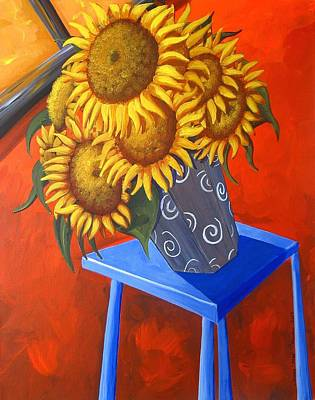 Sunflowers On Blue Table Poster by Debbie Criswell