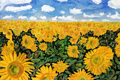 Sunflowers That Ate Manhattan Poster by Michael Ledray