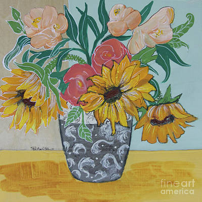Poster featuring the painting Sunflowers Three by Robin Maria Pedrero