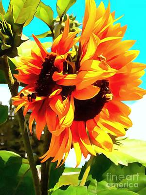 Poster featuring the photograph Sunflowers - Twice As Nice by Janine Riley