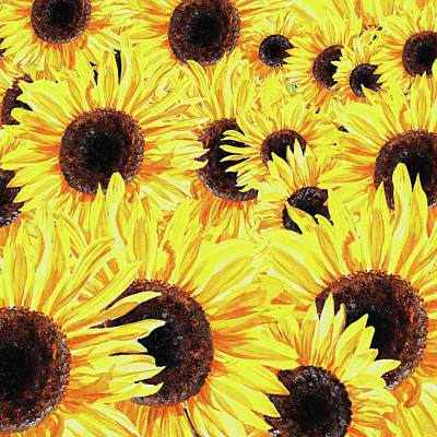 Sunflowers Watercolor Field  Poster