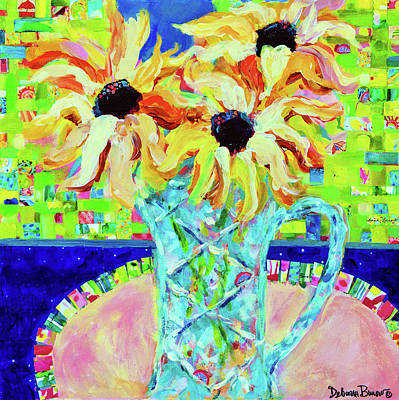 Sunflowers With Trellis Collage Poster by Deborah Burow
