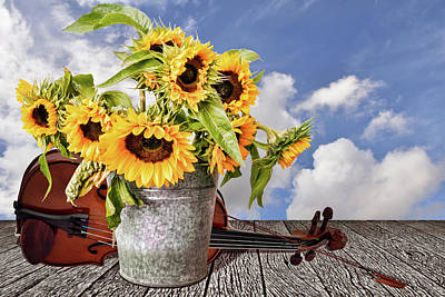 Sunflowers With Violin Poster