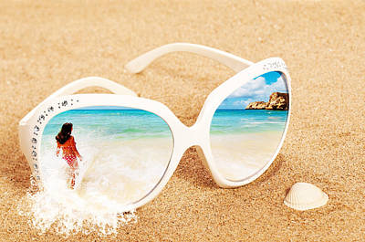 Sunglasses In The Sand Poster by Amanda Elwell