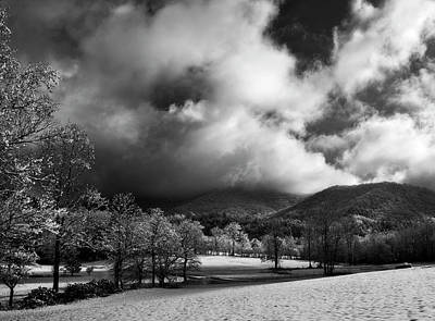 Sunlight Clouds And Snow In Black And White Poster