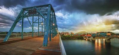 Sunlight Thru Rain Over Chattanooga Poster by Steven Llorca