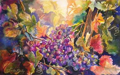 Sunlit Grapes Upclose Sold Poster by Therese Fowler-Bailey
