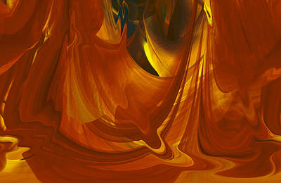 Poster featuring the digital art Sunlit Red Cavern Abstract by rd Erickson
