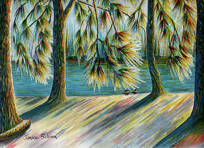 Sunlit Trees Poster by Janice Sobien