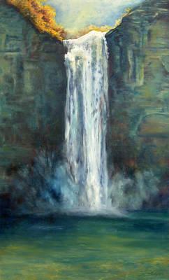 Sunlit Waterfall Poster by Joyce Huntington