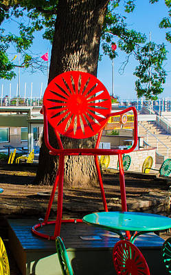 Sunprint Red Big Chair Poster by Ron Miller