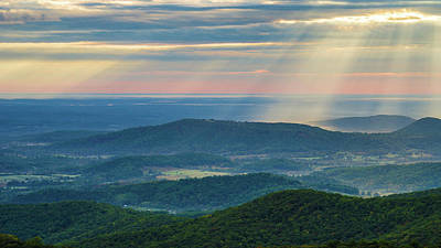 Poster featuring the photograph Sunrays Over The Blue Ridge Mountains by Lori Coleman