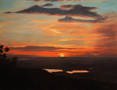 Sunrise Above Boulder Poster