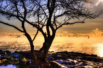 Sunrise And Sea Smoke Over Whaleback Lighthouse And Wood Island Life Saving Station Poster by Joann Vitali